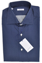 Mattabisch Shirt Navy Diamonds 39 - 15 1/2 Hand Made In Italy