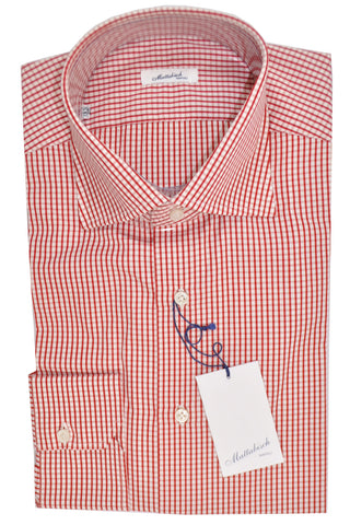 Mattabisch Dress Shirt White Red Check 40 - 15 3/4