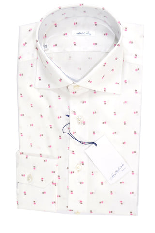 Mattabisch Napoli Shirt White Pink Flowers 40 - 15 3/4 Slim Fit