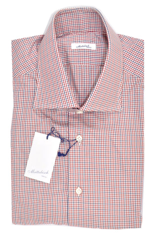 Mattabisch Dress Shirt White Navy Red Check 43 - 17 SALE