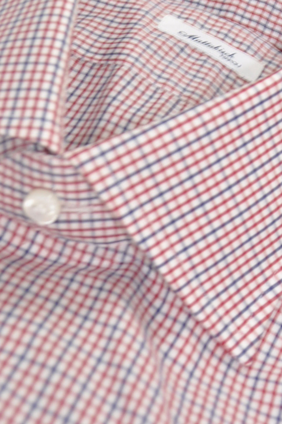 Mattabisch Dress Shirt White Navy Red Check