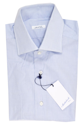 Mattabisch Dress Shirt White Navy-Blue Mini Grid 39  - 15 1/2 SALE