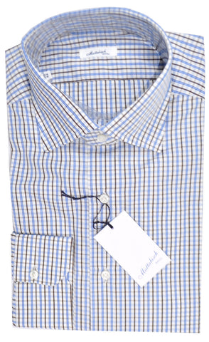 Mattabisch Napoli Dress Shirt White Blue Brown Check 42 - 16 1/2