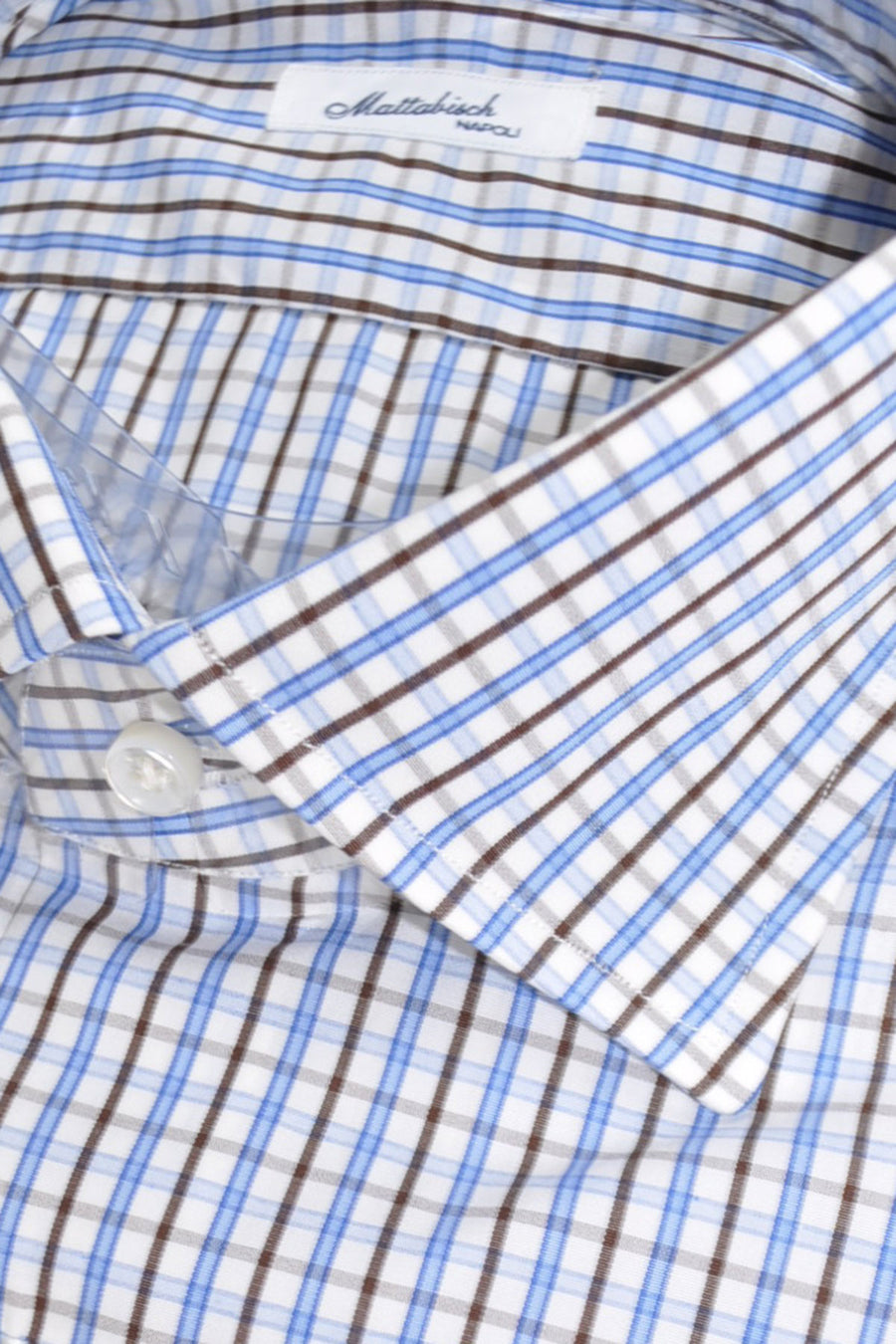 Mattabisch Napoli Dress Shirt White Blue Brown Check