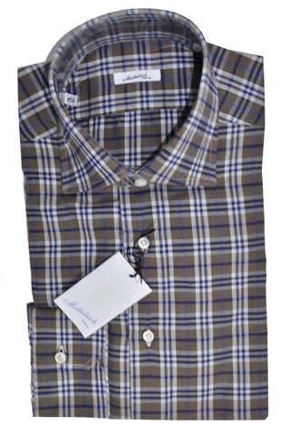 Mattabisch Sport Shirt Brown Navy Plaid Check - Flannel Cotton