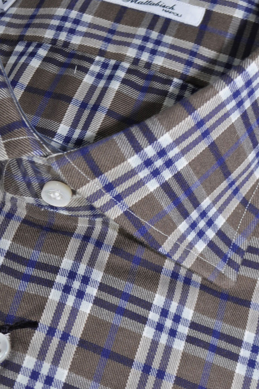 Mattabisch Sport Shirt Brown Navy Plaid Check Flannel Cotton