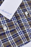 Mattabisch Sport Shirt Brown Navy Plaid New