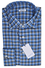 Mattabisch Sport Shirt Blue Gray Plaid Check - Flannel Cotton
