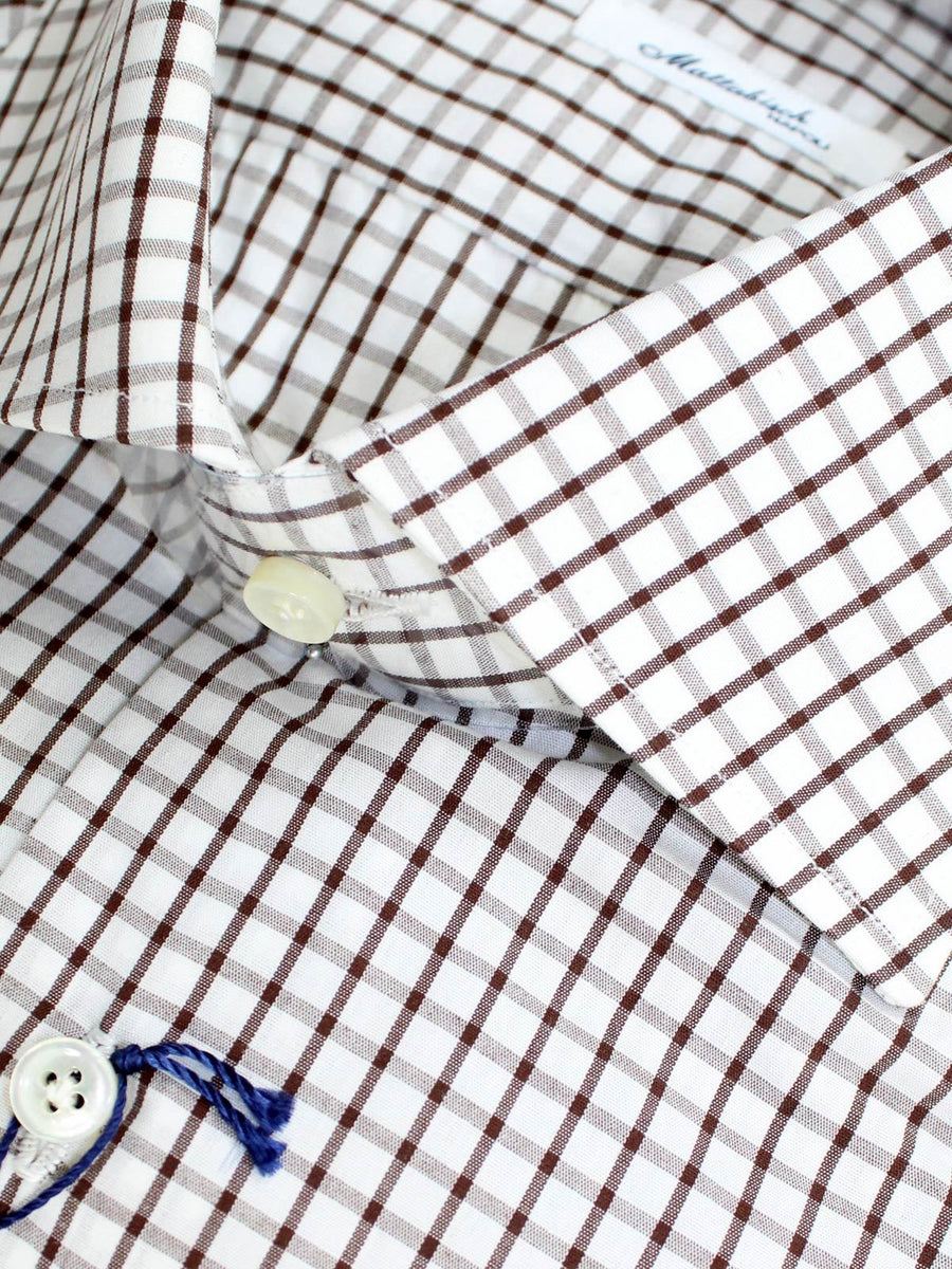 Mattabisch Shirt White Brown Check