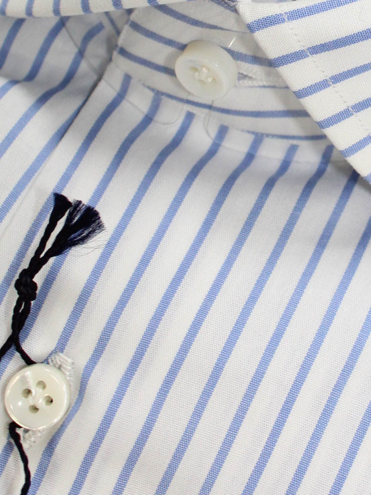 Mattabisch Shirt White Blue Stripes