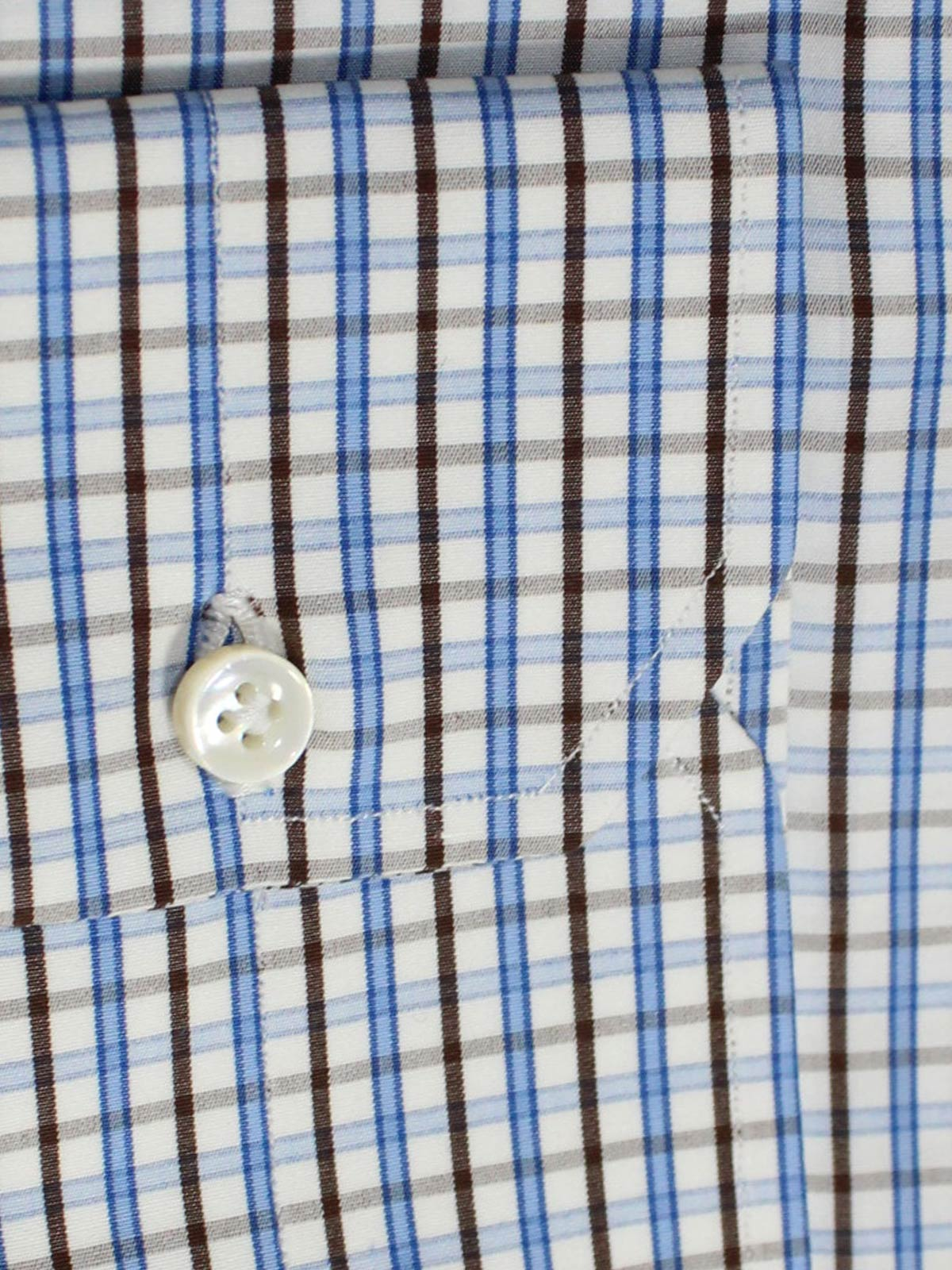 Mattabisch Dress Shirt White Blue Brown Check - Sartorial Shirt 42 - 16 1/2 REDUCED - SALE