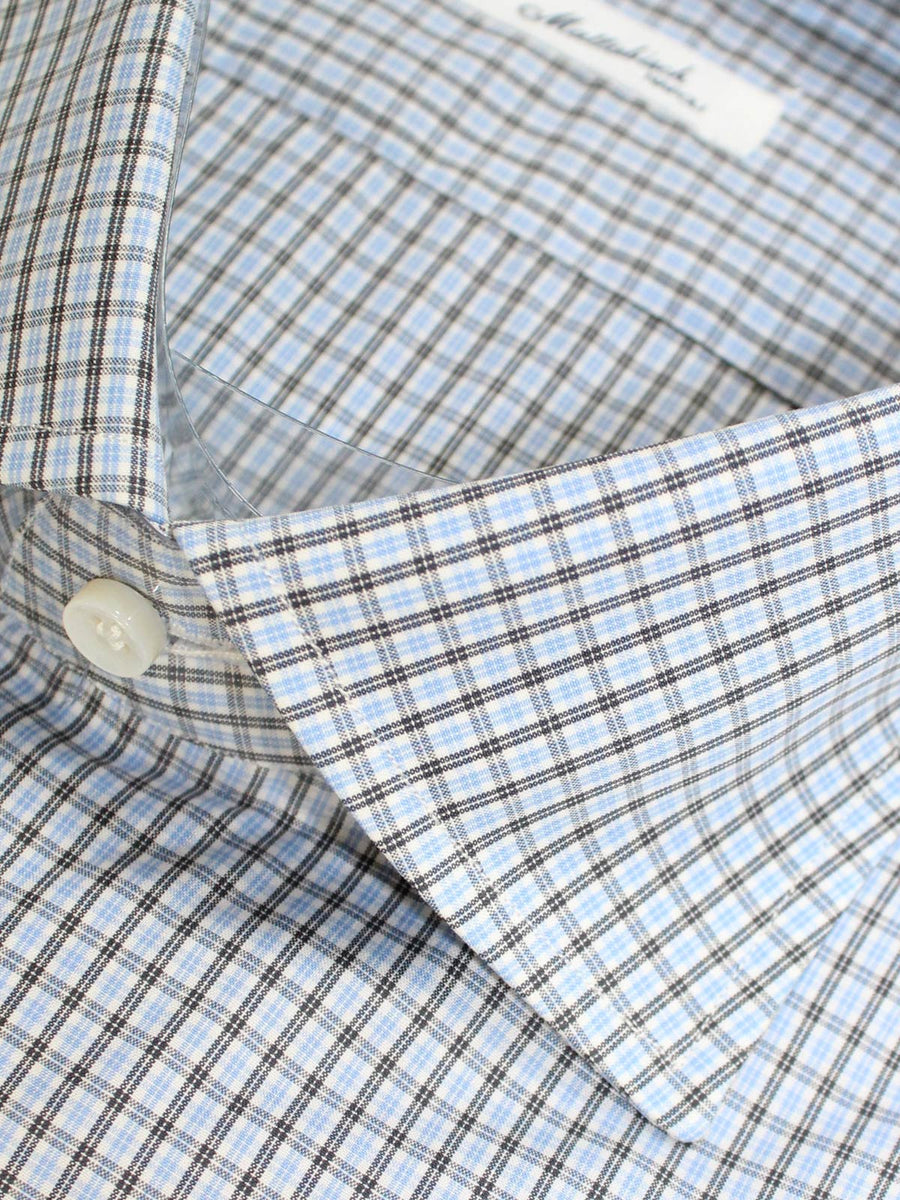 Mattabisch Shirt White Blue Black White Check 41 - 16 SALE