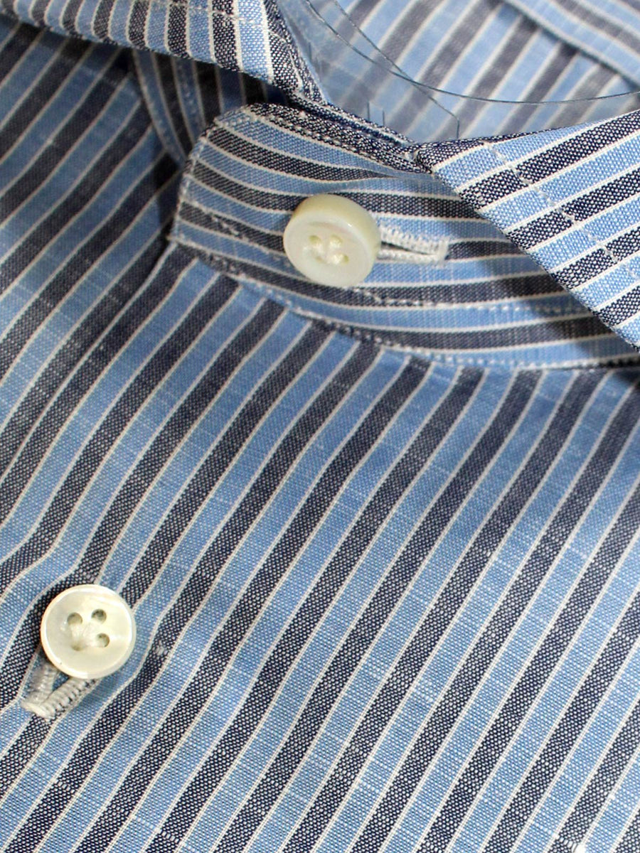 Sartorio Dress Shirt Navy Blue Stripes Linen Cotton 40 - 15 3/4 REDUCED - SALE
