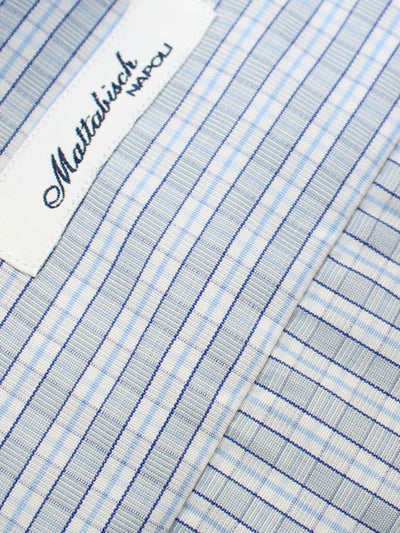 Mattabisch Shirt White Blue Navy Gray Check 41 - 16 SALE