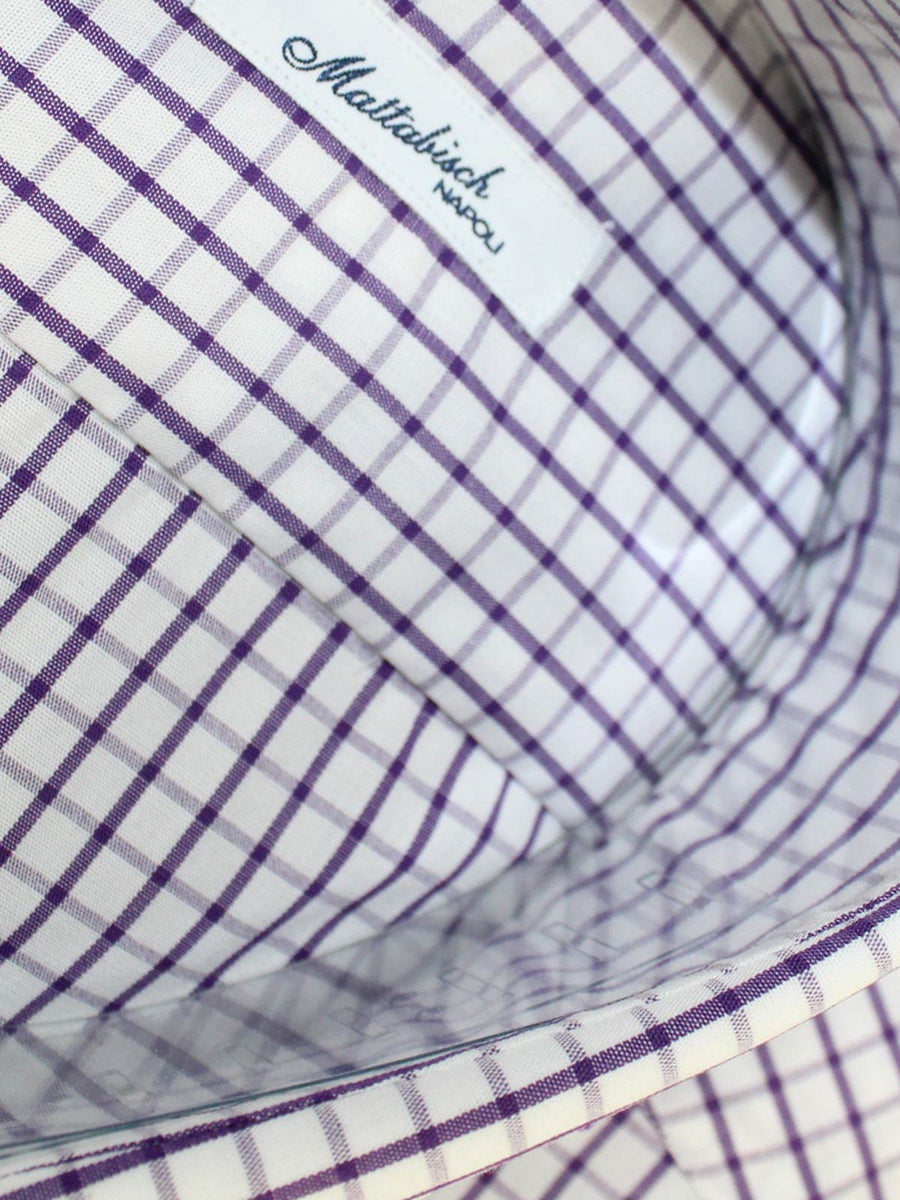Mattabisch Dress Shirt White Purple Graph Check 44 - 17 1/2 SALE