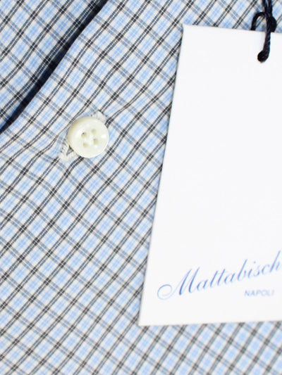Mattabisch Dress Shirt White Blue Black White Check