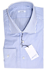 Mattabisch Dress Shirt White Blue Stripes