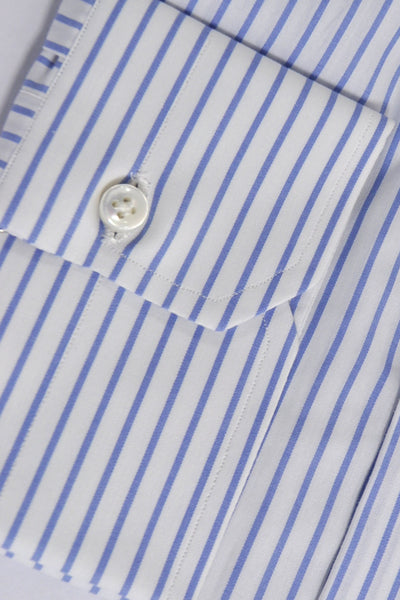 Dress Shirt White Blue Stripes
