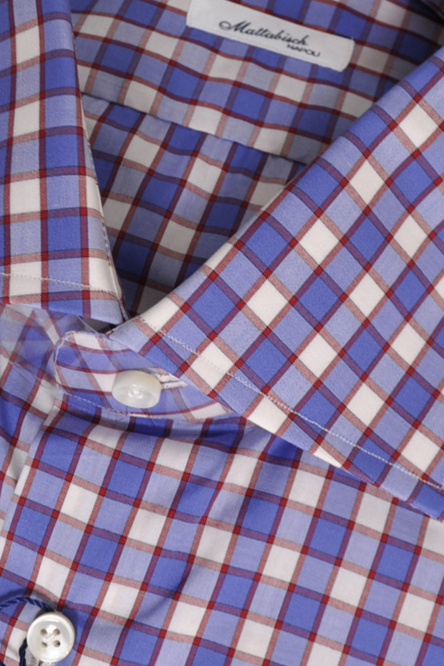Mattabisch Dress Shirt White Blue Bordeaux Check 40 - 15 3/4 SALE