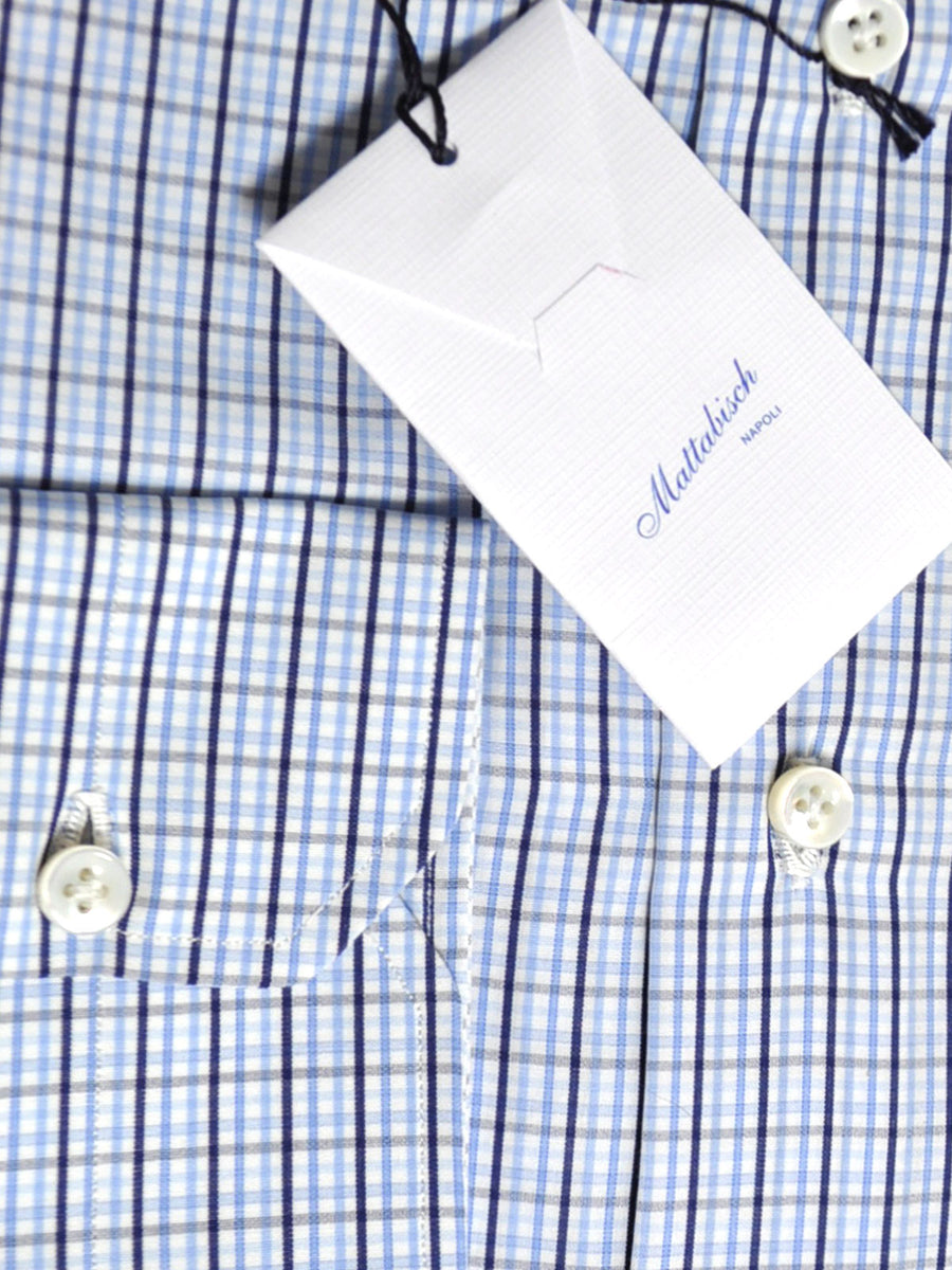 Mattabisch Dress Shirt White Blue Navy Check Tattersall
