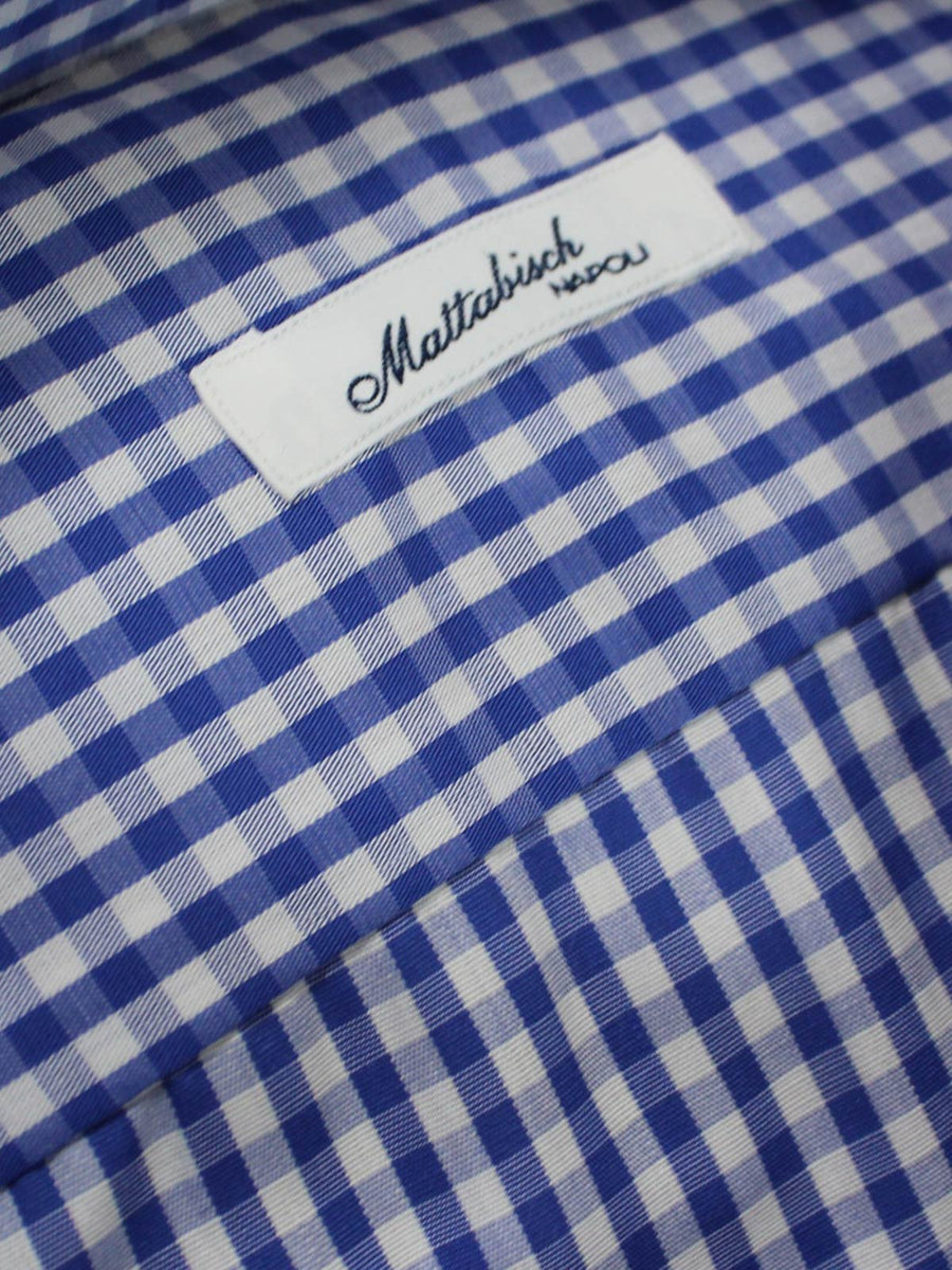 Mattabisch Dress Shirt White Royal Blue Check