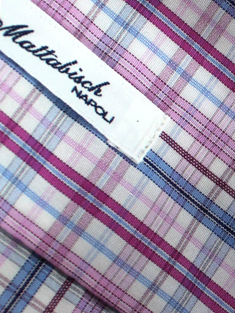 Mattabisch Dress Shirt White Pink Fuchsia Blue Check