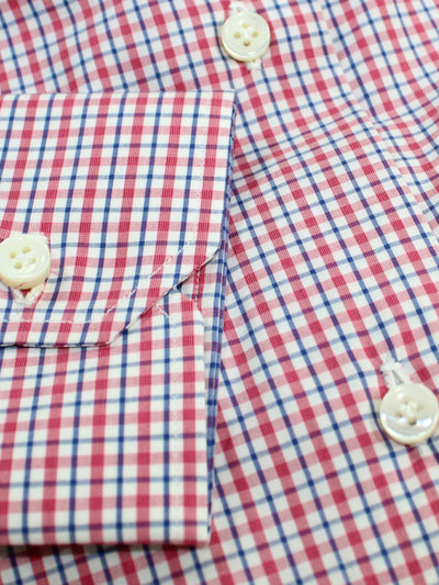 Mattabisch Dress Shirt White Navy Red Check - Sartorial Shirt 37 - 14 1/2 SALE