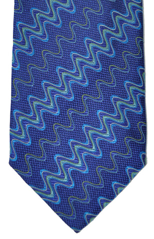 Missoni Tie Royal Blue Mint Swirly Stripes