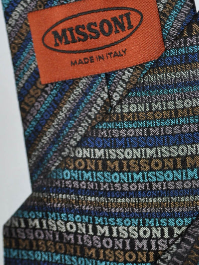 Missoni Tie Olive Blue Logo Stripes Design FINAL SALE