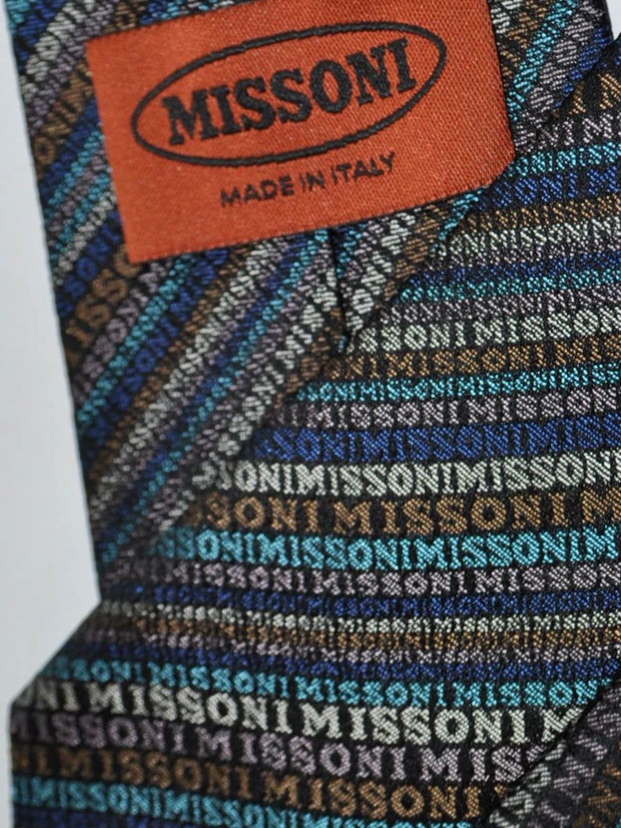 Missoni Tie Olive Blue Logo Stripes Design