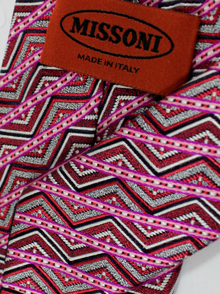Missoni Tie Pink Gray Stripes Design
