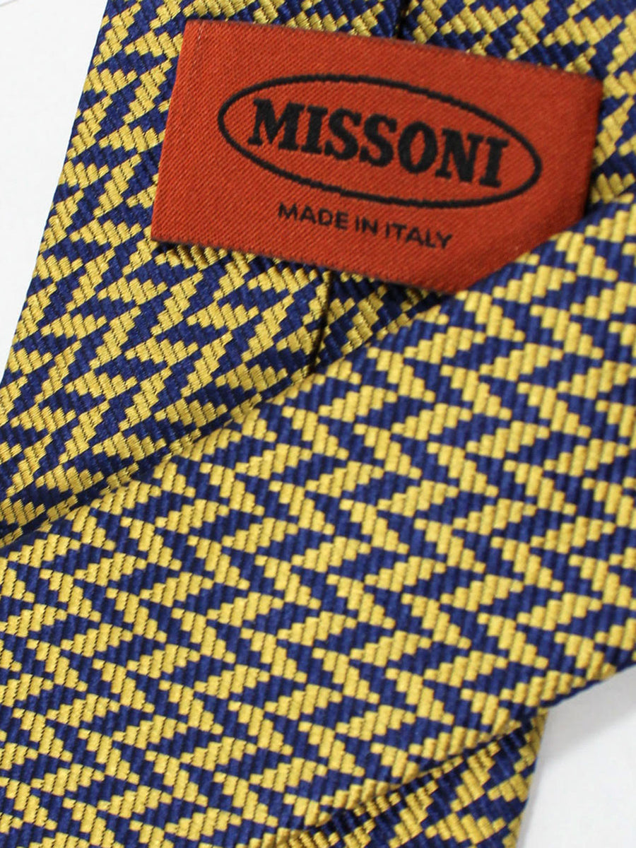 Missoni Tie Navy Yellow Gold Geometric Design