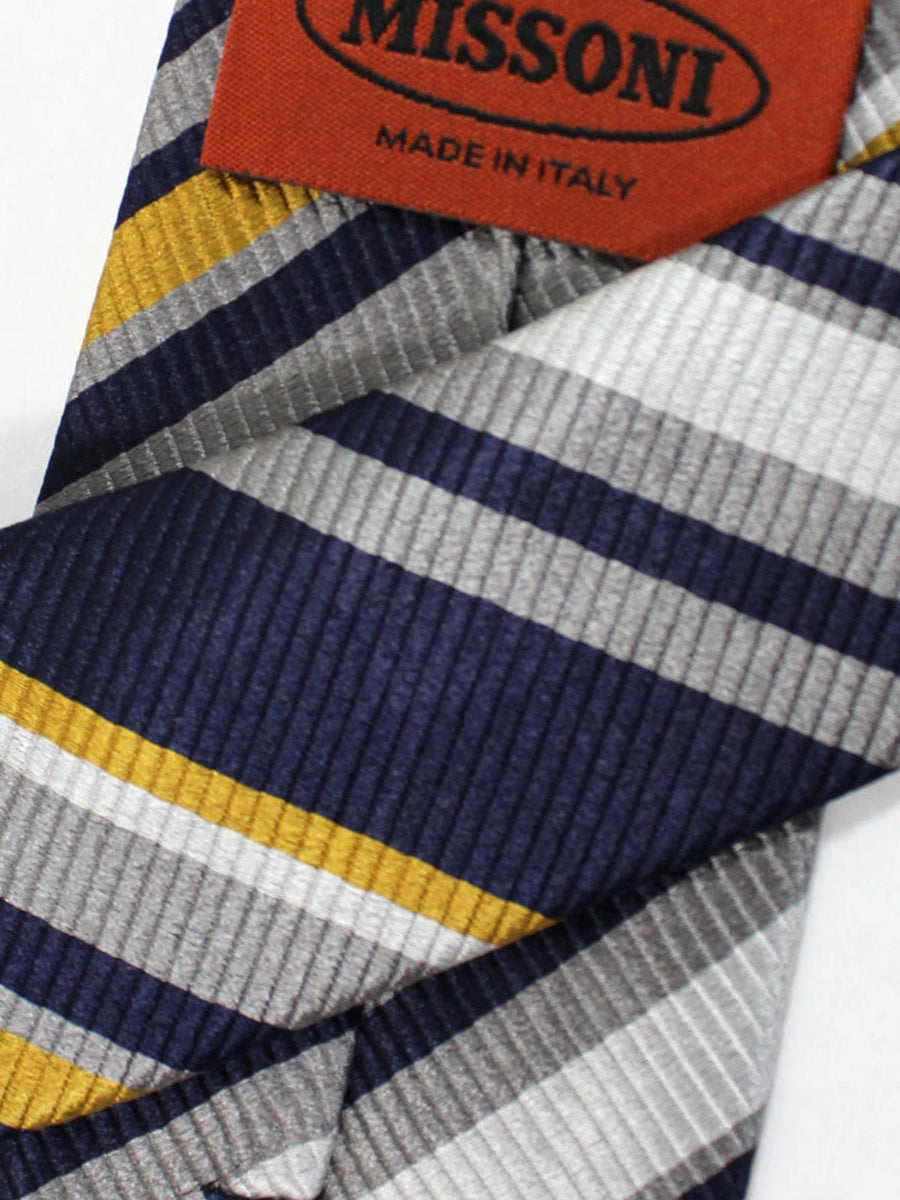 Missoni Tie Black Gray Olive Stripes Design