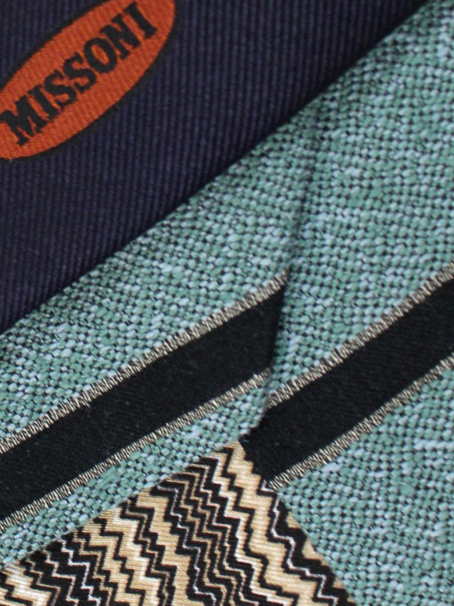 Missoni Tie Seafoam Black Stripes Design - Narrow Necktie
