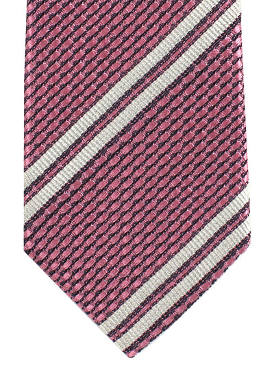 Missoni Tie Pink Gray Silver Stripes Stripes Design - Narrow Necktie