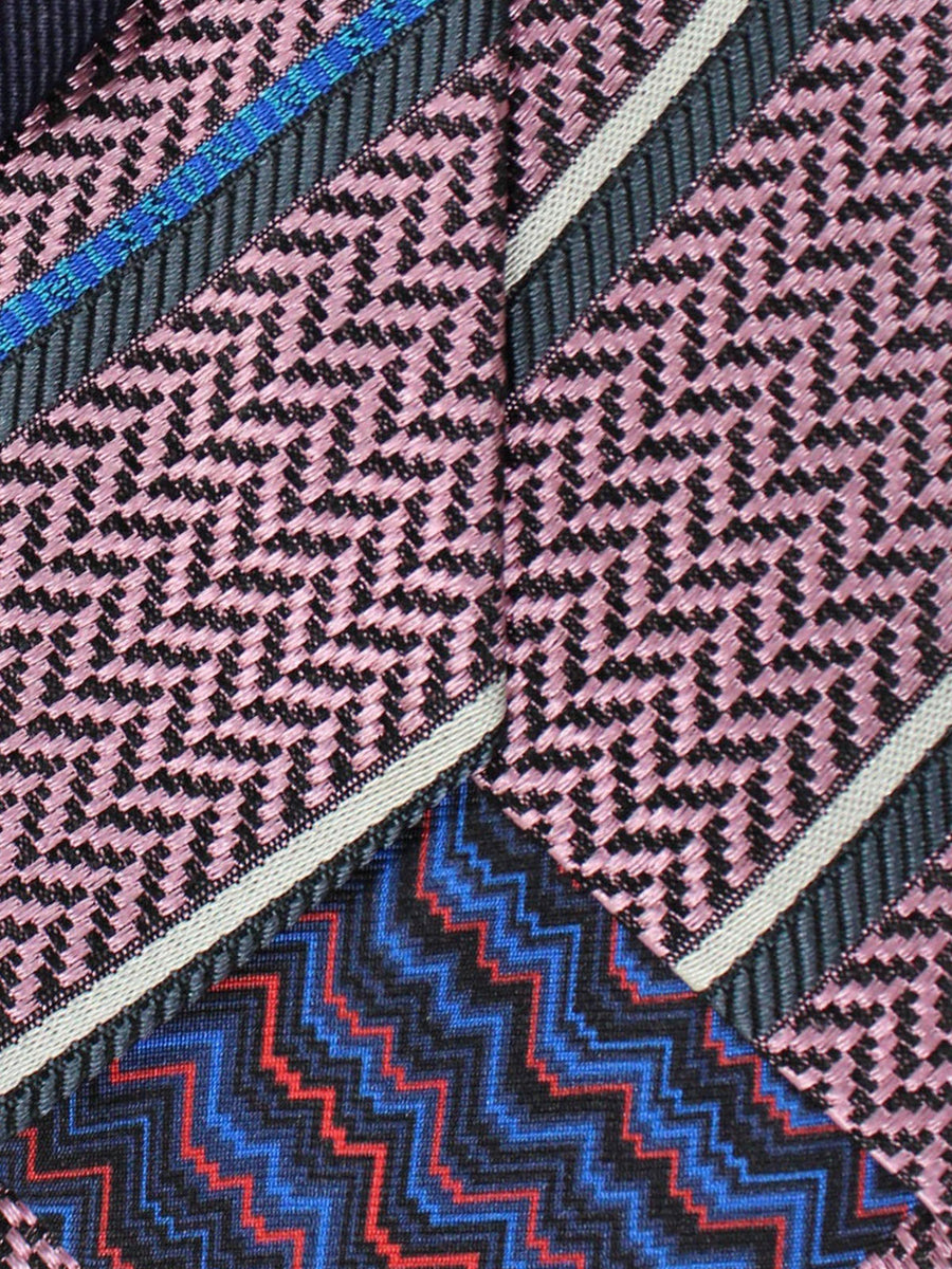 Missoni Tie Pink Gray Royal Aqua Stripes Stripes Design - Narrow Necktie