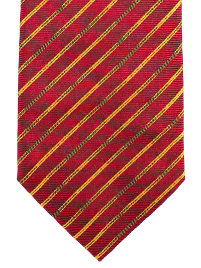 Missoni Tie Burgundy Mustard Stripes Design - Narrow Necktie
