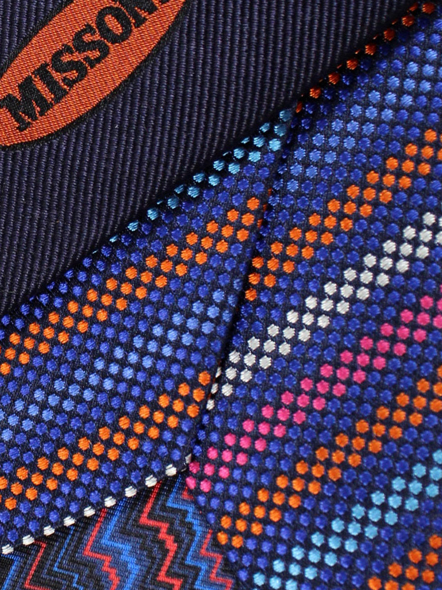 Missoni Tie Lapis Orange Aqua Stripes Design - Narrow Necktie