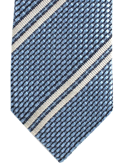 Missoni Tie Metallic Blue Gray Stripes Stripes Design - Narrow Necktie