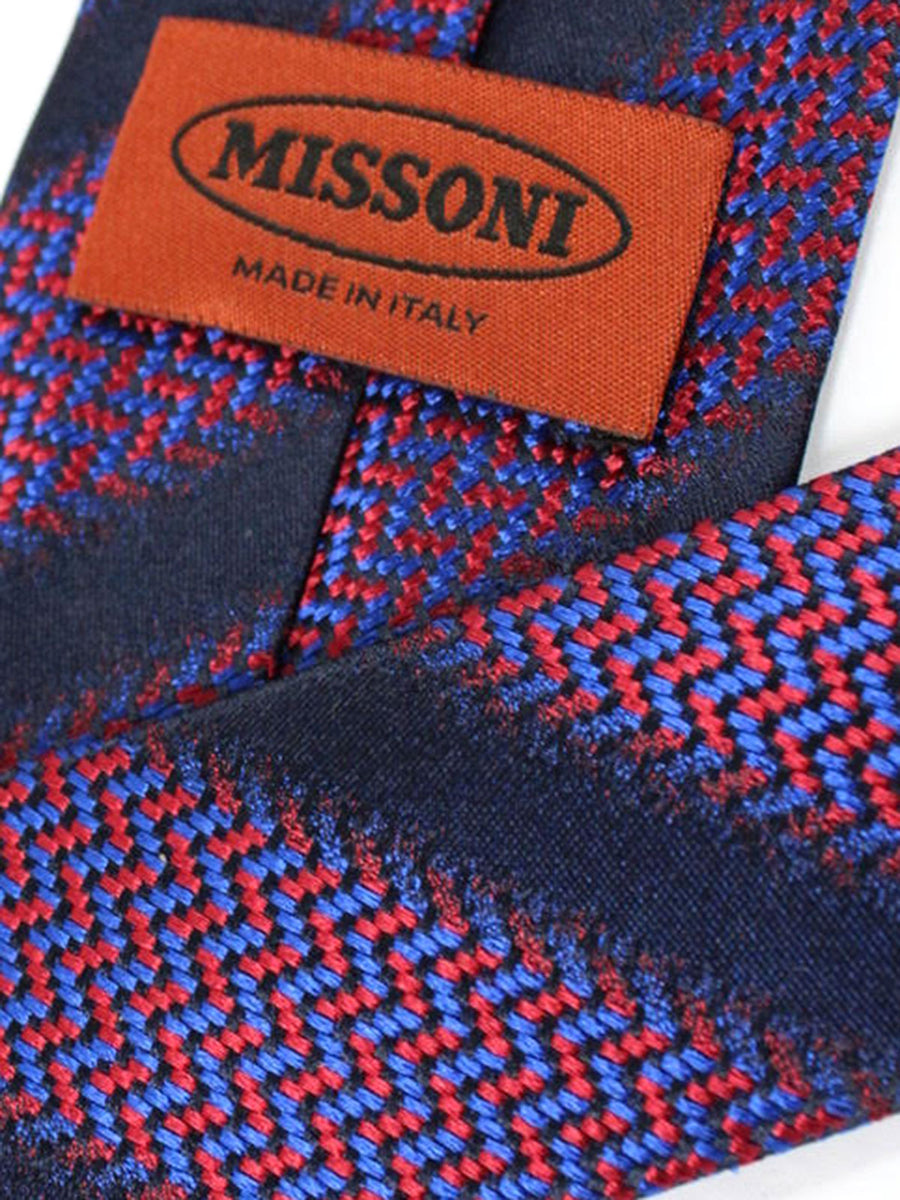 Missoni Tie Navy Red Royal Stripes Design