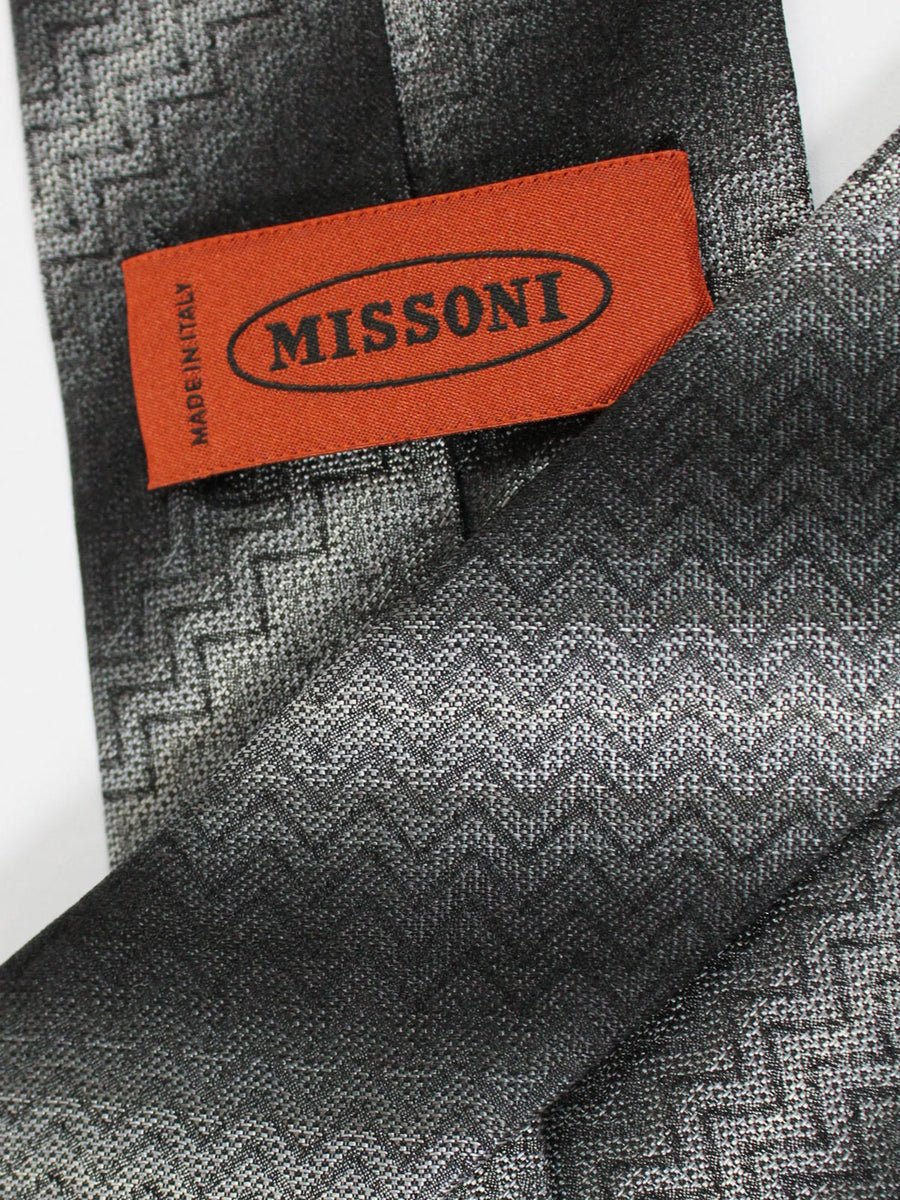 Missoni Tie Black Gray Stripes Design