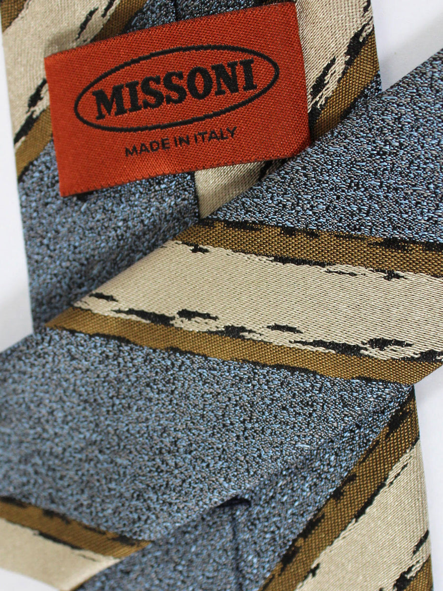 Missoni Tie Metallic Gray Tan Stripes Design