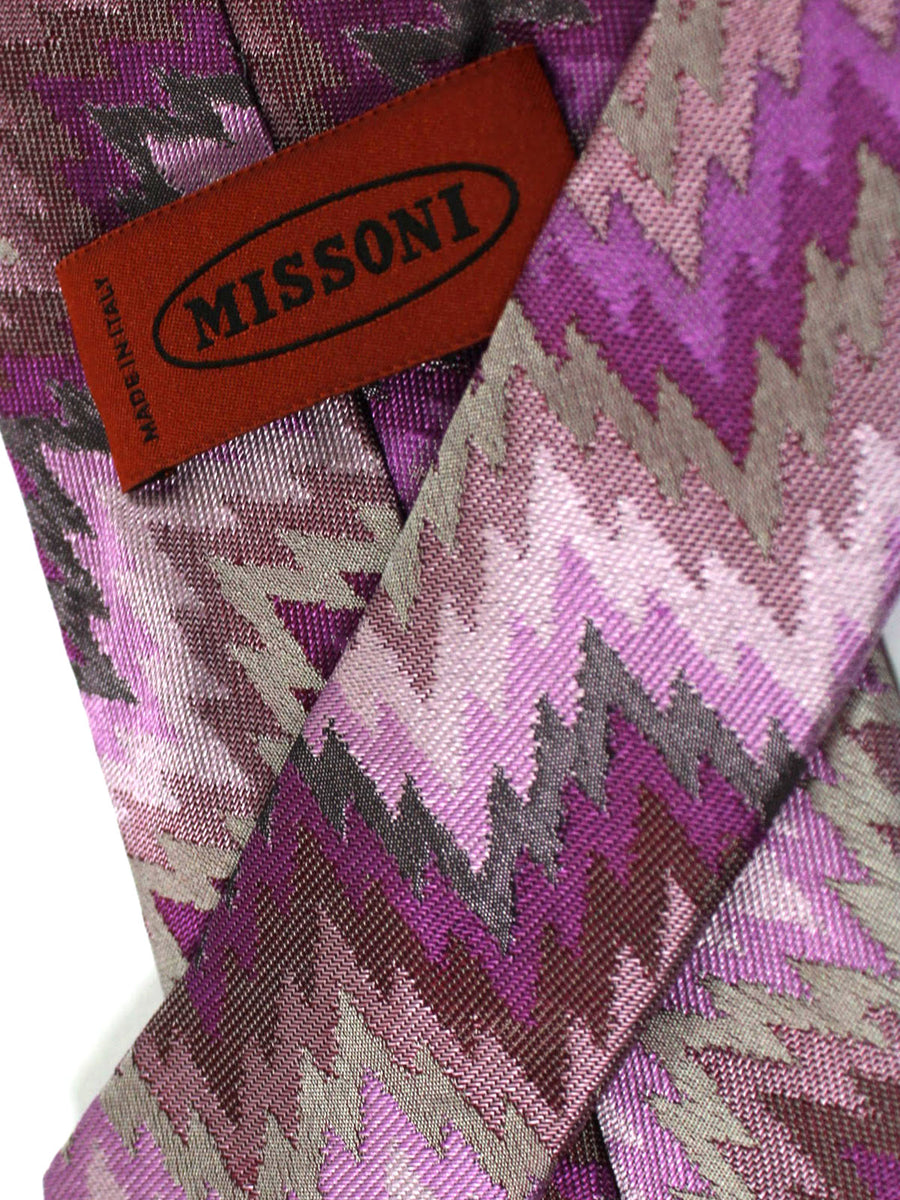 Missoni Tie Purple Gray Zig Zag Design