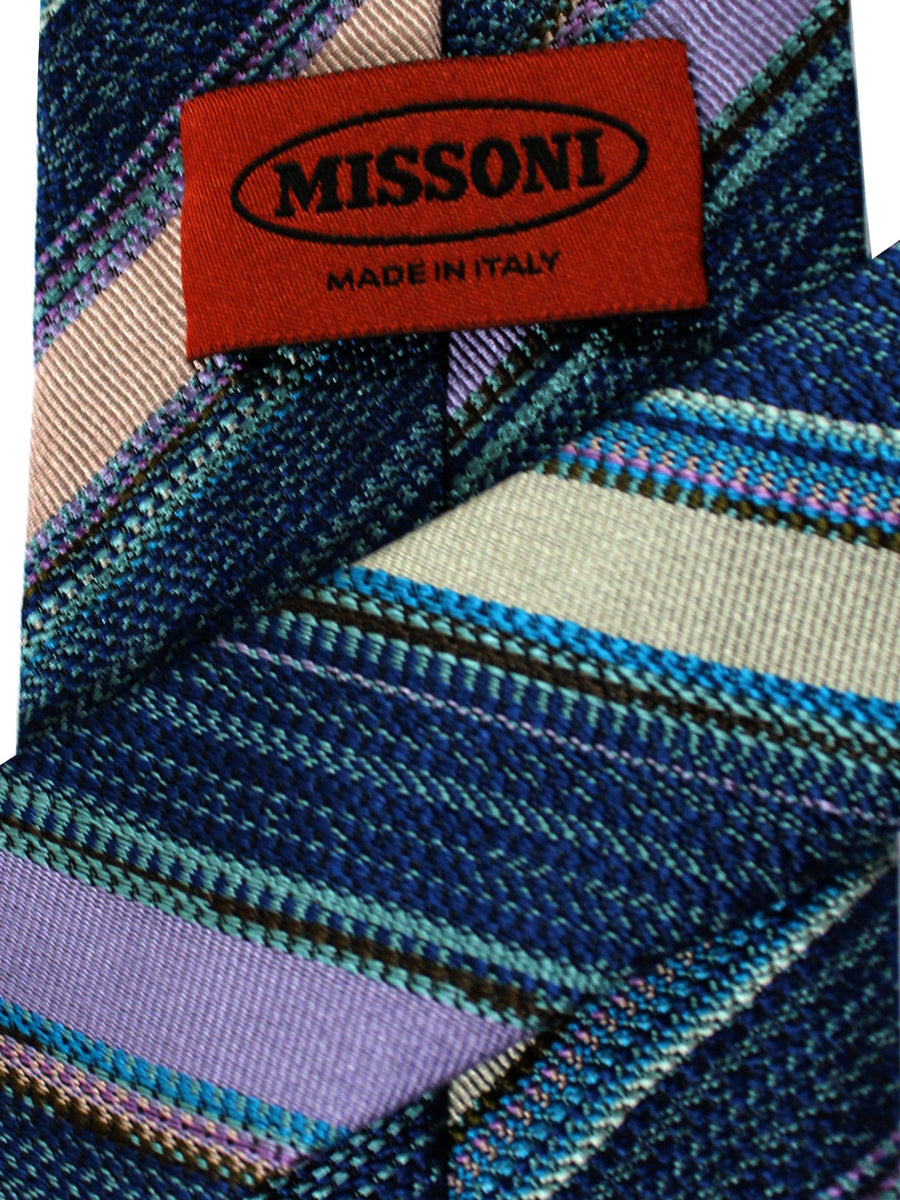 Missoni Tie Blue Lilac Gray Stripes Design