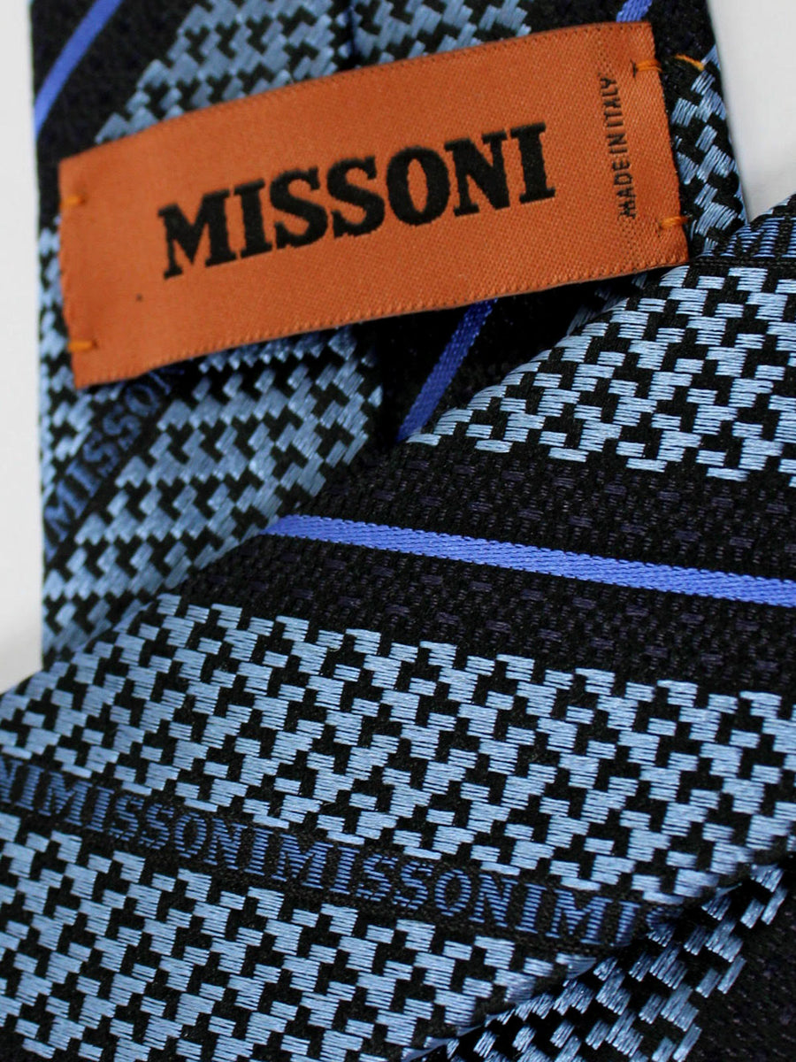 Missoni Tie Metallic Gray Black Royal Stripes Design