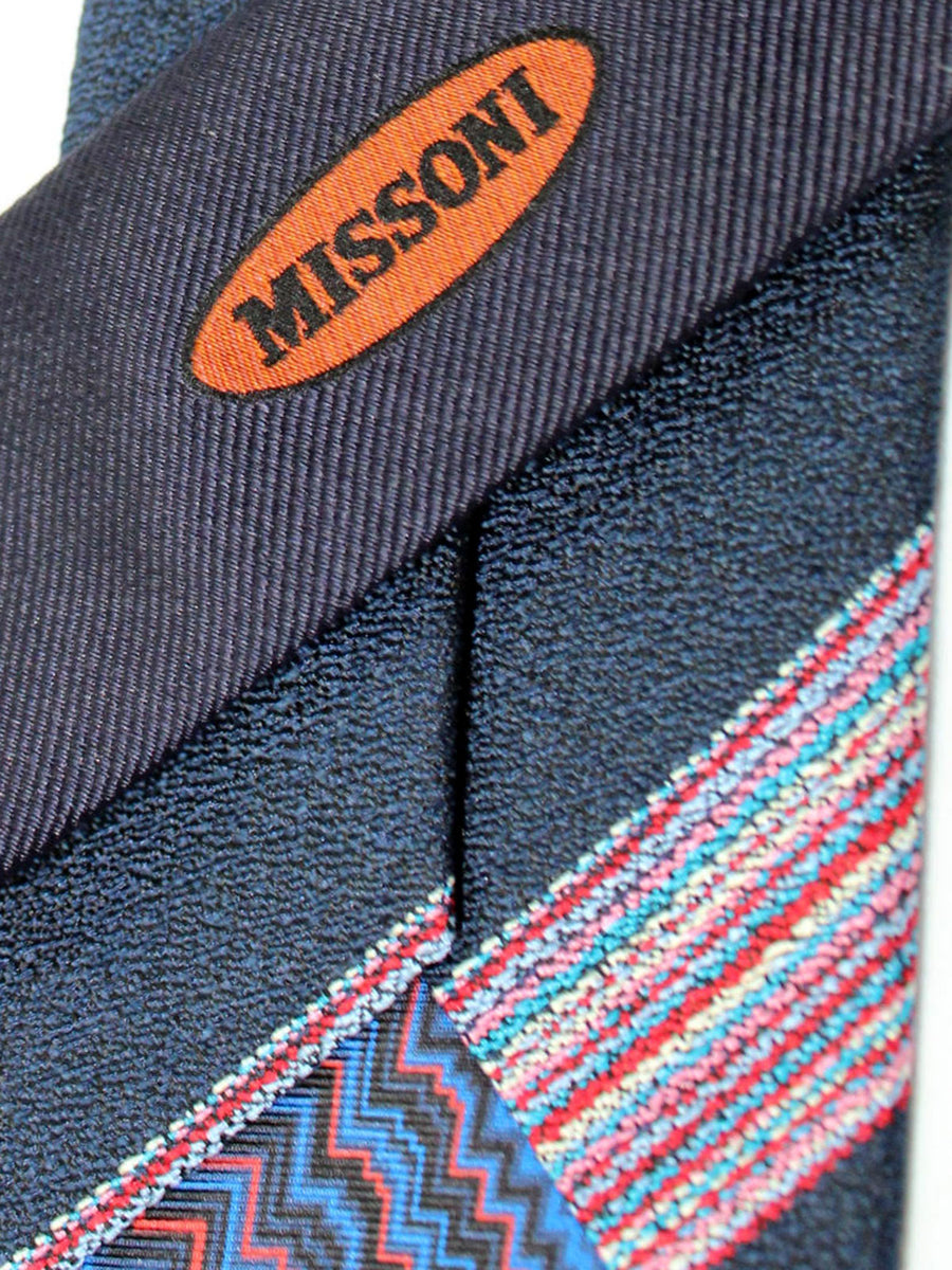 Missoni Tie Dark Blue Fuchsia Stripes Design