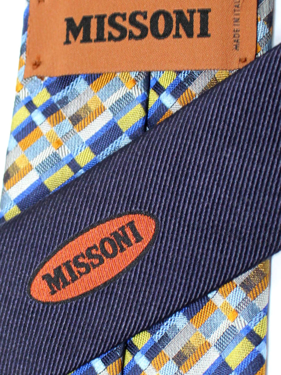 Missoni Tie Navy Blue Olive Brown Geometric Design