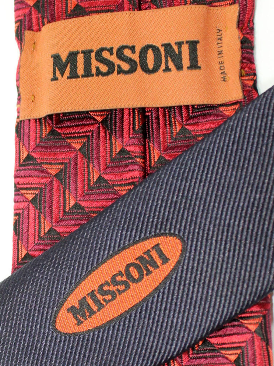 Missoni Tie Purple Red Pink Geometric Design