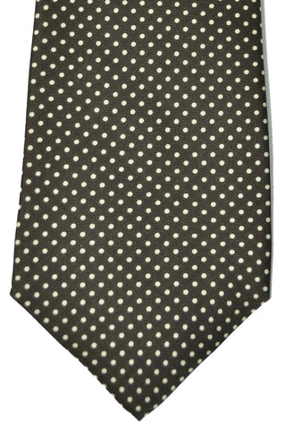 Luigi Monaco Elevenfold Tie Brown Dots SALE