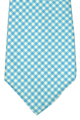 Luigi Monaco Elevenfold Tie Aqua Blue White Stripes
